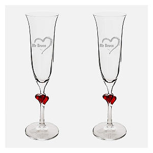 Romantic Personalised Red Heart Champagne Flutes