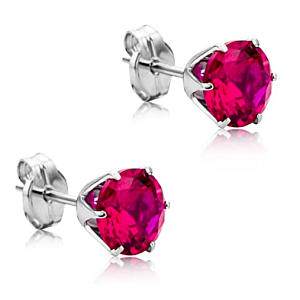 Ruby 9 Carat White Gold Earrings