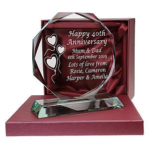 40th Ruby Wedding Anniversary Engraved Glass