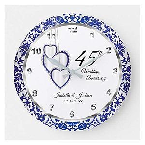 Sapphire Blue Wood Clock