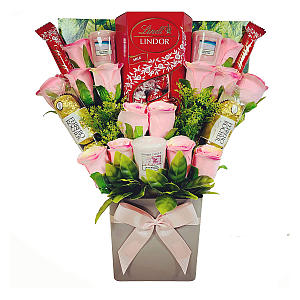Selection Bouquet with Candles, Chocolates and Roses