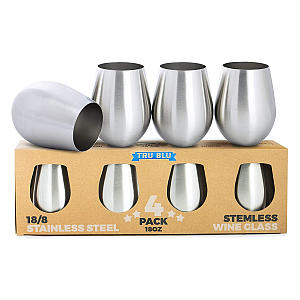 Set of 4 Stemless Stainless Steel Glasses