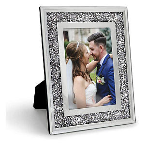 Silver Crystal Mirrored Photo Frame