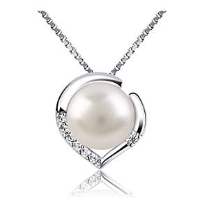 Silver Necklace with Pearl Pendant
