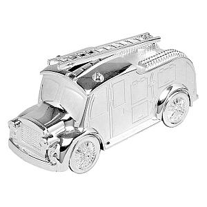 Silver Plated Fire Engine Money Box
