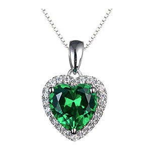 Sterling Silver Necklace with Emerald Pendant