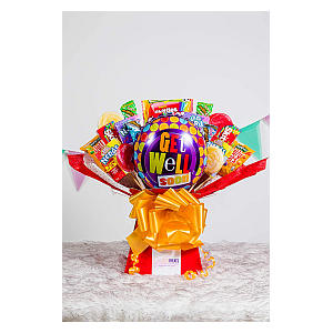 Sweets And Balloon Get Well Soon Hamper