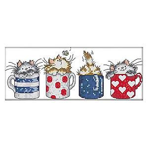Tea Cup Cats Cross Stitch Kit