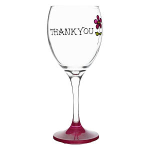Thank You Hand Painted Wine Glass
