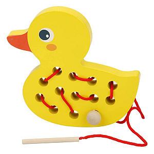 Thread Game Wooden Duck Toy