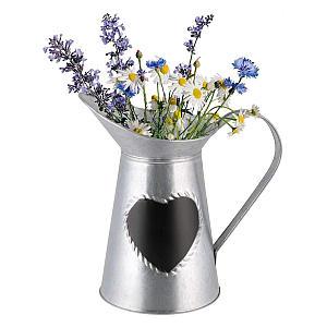 Tin Heart Message Jug Vase
