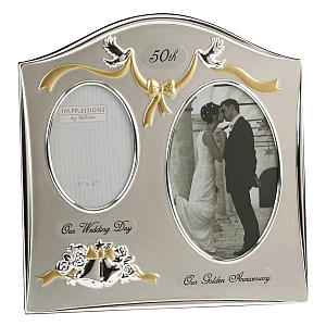 Two Tone Silver Plated 50th Anniversary Frame