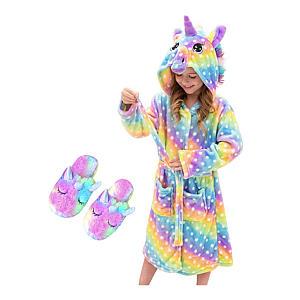 Unicorn Hooded Bathrobe And Slippers