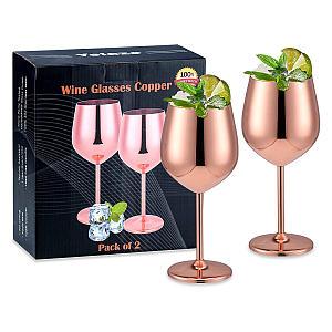 Velaze Copper Wine Glasses Set