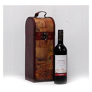 Versare Red Wine With Wooden Wine Chest