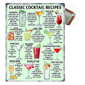 Vintage Cocktail Recipe Plaque