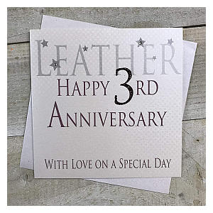 White Cotton 3rd Year Anniversary Cards
