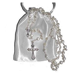 White Heart Rosary Beads