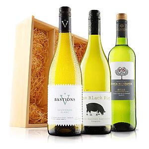 White Wine Trio in Wooden Box
