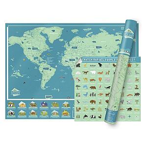 Wildlife Scratch Map for Kids