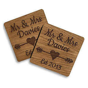 Wooden Mr & Mrs Coasters
