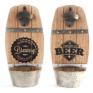 Wooden Wall Mounted Beer Bottle Opener with Catcher