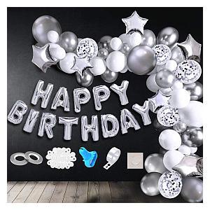 113 Piece Silver Birthday Decoration Kit