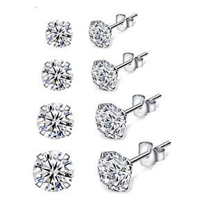 4 Pairs Silver Stud Earrings