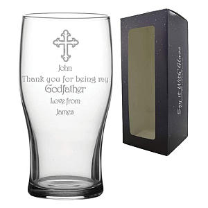 Engraved Godfather Pint Glass