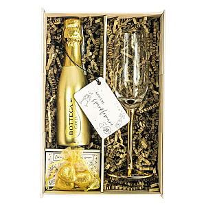 Gold Bottega Set with Champagne Flute