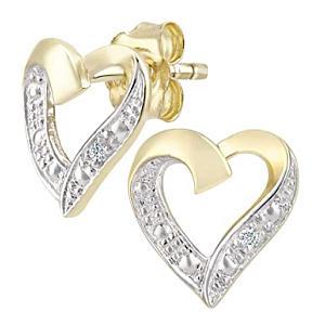 Gold Diamond Heart Earrings