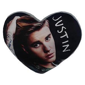 Justin Bieber Heart Shaped Filled Cushion