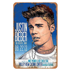Justin Bieber The Believe Tour Metal Sign