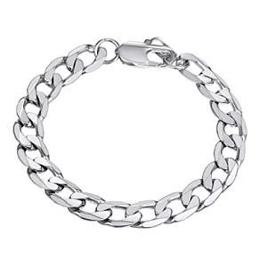 Mens Curb Link Silver Bracelet