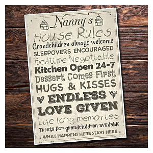 Nanny House Rules Plaque