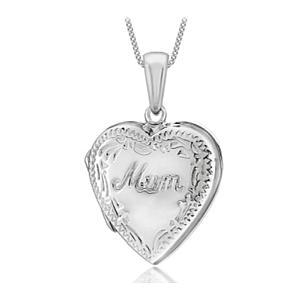 Silver Mum Engraved Locket Necklace