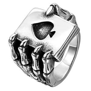 Skull Hand Card Ring
