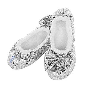 Womens Silver Bling Soft Slippers