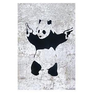 Banksy Panda Guns Graffiti Poster