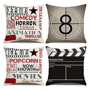 Pack of 4 Cinema Themed Cushion Covers