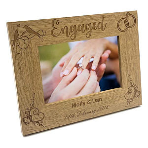 Personalised Engagement Wooden Photo Frame