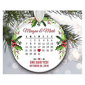 Personalised She Said Yes Christmas Ornament